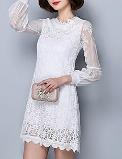 여성의 솔리드 라운드 넥 긴 소매 블라우스,보호 / 스트리트 쉬크 캐쥬얼/데일리 레드 / 화이트 / 블랙 레이온 / 폴리에스테르 사계절 얇음