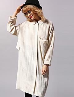 neu vor casual / täglich einfaches Hemd dressstriped Hemdkragen Knielänge der langen Hülse der Frauen