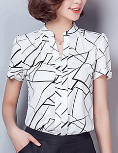 Rayon / Polyester Hvit / Sort Tynn Kortermet,V-hals Skjorte Geometrisk Sommer Enkel / Gatemote Arbeid Kvinner