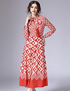 Damen Hemd Kleid-Ausgehen Retro Geometrisch Hemdkragen Maxi Langarm Rot Baumwolle / Polyester Frühling Mittlere Hüfthöhe Unelastisch