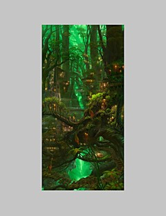 E-HOME® Stretched LED Canvas Print Art The Tree House LED Flashing Optical Fiber Print One Pcs