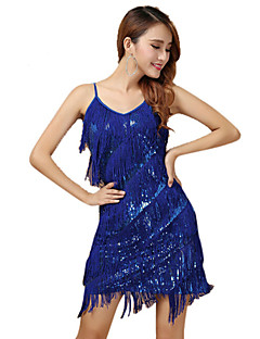 Performance Dresses Women's Performance Polyester Paillettes / Tassel(s) 1 Piece Blue / Fuchsia / White And Silver Latin Dance Backless