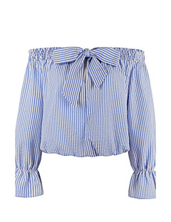 Women's Plus Size Vintage All Seasons ShirtStriped Boat Neck  Sleeve Blue Cotton Medium