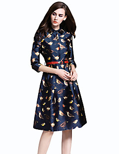 Women's Casual/Daily Simple Sheath DressAnimal Print Round Neck Knee-length  Sleeve Blue Polyester All Seasons Low Rise