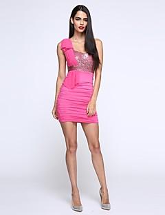 女性のファッションセクシーなワンショルダースパンコールヒップパッケージボディコンドレス