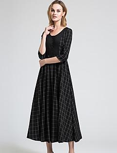 BORME® נשים צווארון עגול אורך שרוול 3/4 מקסי שמלות-Y045