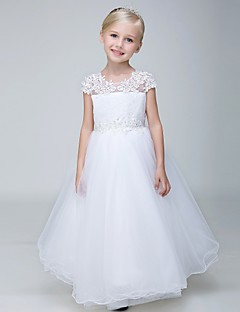 Ball Gown Ankle Length Flower Girl Dress - Lace Tulle Short Sleeves Jewel Neck with Beading