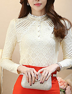 Women's Solid Stand Collar Lace Slim Bottom Blouse Shirt