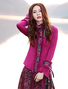 Damen Standard Pullover-Ausgehen Retro Stickerei Lila Rundhalsausschnitt Langarm Baumwolle / Elasthan Frühling / Herbst Mittel