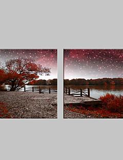 e-Home® uitgerekt geleid canvas kunst het rivierenlandschap flitseffect geleid knipperende glasvezel afdruk set van 2