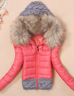 Women's Regular Padded CoatStreet chic Casual/Daily Patchwork Knit Slim Warm Long Sleeve Hooded