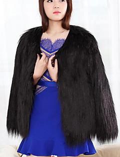 Feminino Casaco de Pelo Tamanhos Grandes Simples Inverno,Sólido Azul / Rosa / Branco / Preto / Cinza / Verde / RoxoPêlo Sintético /
