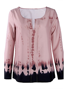 Langærmet U-hals Medium Kvinders Rosa Trykt mønster Efterår Vintage Casual/hverdag T-shirt,Polyester