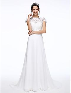 Lanting Bride® A-라인 웨딩 드레스 코트 트레인 보트넥 쉬폰 / 레이스 와 버튼 / 꽃장식 / 허리끈 / 리본