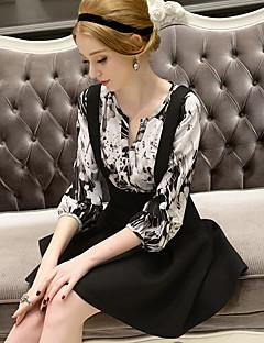 Vrouwen Sexy / Schattig Herfst Overhemd,Uitgaan / Casual/Dagelijks / Werk Print V-hals Driekwart mouw Zwart Polyester Medium