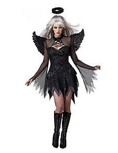 Cosplay-Asut Juhla-asu Enkeli ja paholainen Festivaali/loma Halloween-asut Musta Patchwork Leninki Lisää tarvikkeita Halloween Naiset