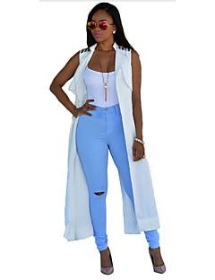 Damen Solide Einfach Lässig/Alltäglich / Arbeit Jacke,Hemdkragen Sommer Ärmellos Rosa / Weiß Polyester Dünn