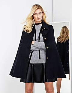 Women's Casual/Daily Simple CoatSolid Peaked Lapel Long Sleeve Winter Blue Wool / Rayon Medium
