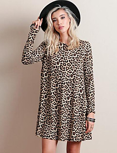 Women's Casual/Daily Street chic Loose DressLeopard Round Neck Above Knee Long Sleeve Brown Cotton Spring / Fall