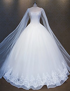 Princess Wedding Dress Floor-length Square Lace / Tulle with Beading / Lace