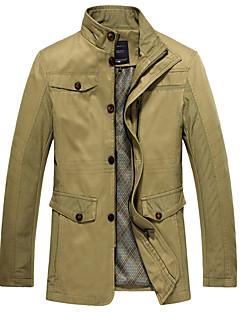 Men's Long Sleeve Casual / Work / Formal JacketCotton / Spandex Solid Black / Brown / Green