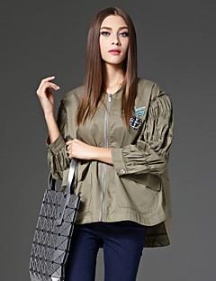 Damen Solide Street Schick Ausgehen Jacke,V-Ausschnitt Frühling / Herbst Langarm Weiß / Grün Baumwolle Undurchsichtig