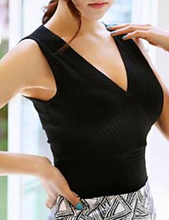 Feminino Padrão Colete,Casual Sensual Sólido Azul Branco Preto Cinza Decote V Sem Manga Algodão Elastano Todas as Estações Média