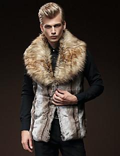 Men's Patchwork Casual / Plus Size CoatFaux Fur Sleeveless-Brown