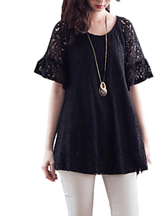 Women's Going out Plus Size / Simple Blouse,Solid Round Neck Short Sleeve Black Rayon Thin