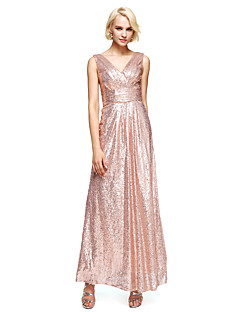 Sweep / Brush Train Sequined Bridesmaid Dress Sheath / Column V-neck with Sequins