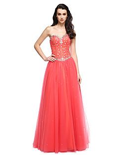 공식적인 저녁 couture® TS는 구슬 장식과 라인 끈이 바닥 길이 새틴 / 얇은 명주 그물 드레스