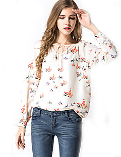 Women's Flare Sleeve Casual/Daily Vintage Spring / Fall Blouse,Print V Neck Long Sleeve Beige Others Translucent