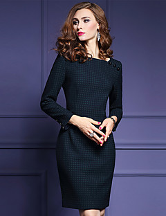 Women's Plus Size / Going out Sophisticated Sheath Dress,Floral Round Neck Above Knee Long Sleeve Black Cotton Fall Mid Rise Micro-elastic