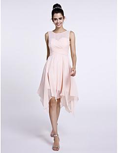 LAN TING BRIDE Knee-length Scoop Bridesmaid Dress - Short Sleeveless Chiffon