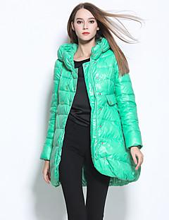 Damen Daunen Mantel,Standard Street Schick Lässig/Alltäglich Solide-Nylon Weiße Entendaunen Langarm Blau / Rot / Weiß / Grün Mit Kapuze