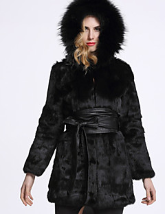 Women's Wedding Club Christmas Thanksgiving Family Gathering Elegant & Luxurious Winter Fur Coat,Solid Color Hooded Long Sleeve Long N/A