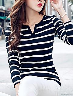 Feminino Camiseta Casual / Tamanhos Grandes Simples / Moda de Rua Primavera / Outono,Listrado Azul / Branco / Preto PoliésterDecote