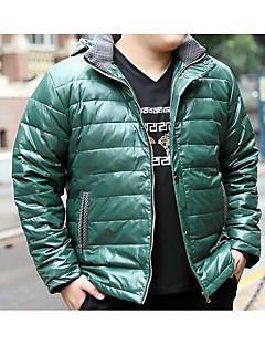 コート レギュラー ダウン メンズ,カジュアル/普段着 ソリッド ポリエステル ホワイトダックダウン-シンプル 長袖 シャツカラー
