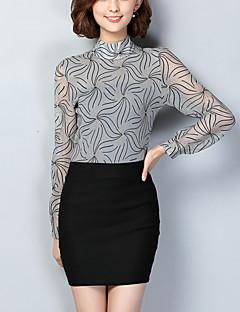 Women's Casual/Daily Simple Fall T-shirtPrint Stand Long Sleeve Silver Spandex Medium
