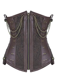 Shaperdiva Women Leather 8 Steel Boned Waist Cincher Gothic Steampunk Corset