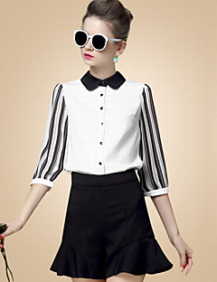 Women's Casual/Daily Simple Fall Blouse,Solid Peter Pan Collar ¾ Sleeve White Cotton Thin