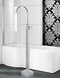 Modern / Art Deco / Retro Bad en douche Waterval / Wide spary / Staat op vloer with  Keramische ventiel Single Handle Een Hole for  Chroom