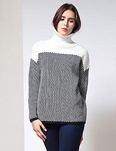 Damen Standard Pullover-Ausgehen Einfach Patchwork Weiß Rollkragen Langarm Polyester / Nylon Winter Mittel Mikro-elastisch