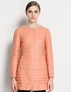 Damen Daunen Mantel,Standard Einfach Lässig/Alltäglich Solide-Andere Weiße Gänsedaunen Langarm Rosa Rundhalsausschnitt