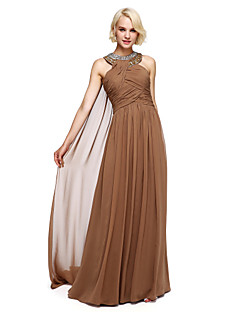 Lanting Bride® Floor-length Chiffon Bridesmaid Dress Ball Gown Halter with Beading