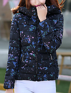 Damen Gefüttert Mantel Einfach Lässig/Alltäglich Solide-Polyester Polyester Langarm Weiß / Schwarz Mit Kapuze