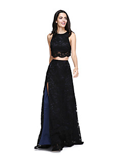 LAN TING BRIDE Floor-length Jewel Bridesmaid Dress - Two Pieces Furcal Little Black Dress Sleeveless Lace