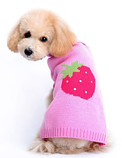 Gatos Cães Súeters Roupas para Cães Inverno Primavera/Outono Fruta Fofo Casual Rosa claro