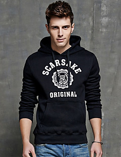 Men's Teen Casual Daily Sports Hip Hop Letter Print Blue Long Sleeve Cotton Fall  Winter Hooded Sweater Pullover