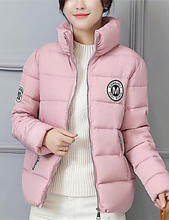 Women's Regular Padded Coat,Simple Casual/Daily Solid-Nylon Polypropylene Long Sleeve Crew Neck Pink / Black / Gray / Green